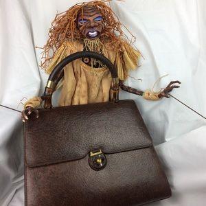 Vintage Gucci Brown Leather Handbag with Wallet